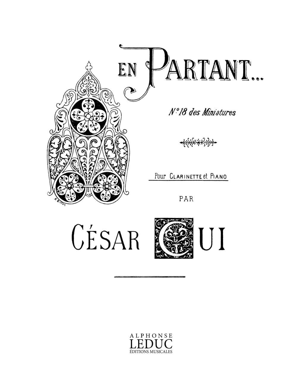 César Cui: En Partant (Clarinet): Clarinet: Instrumental Work