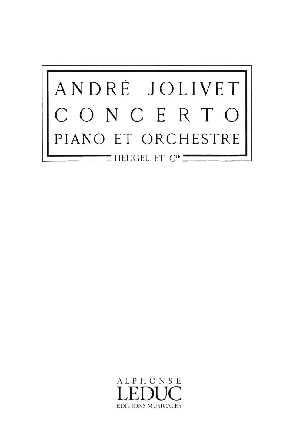 André Jolivet: Concerto: Piano Duet: Score