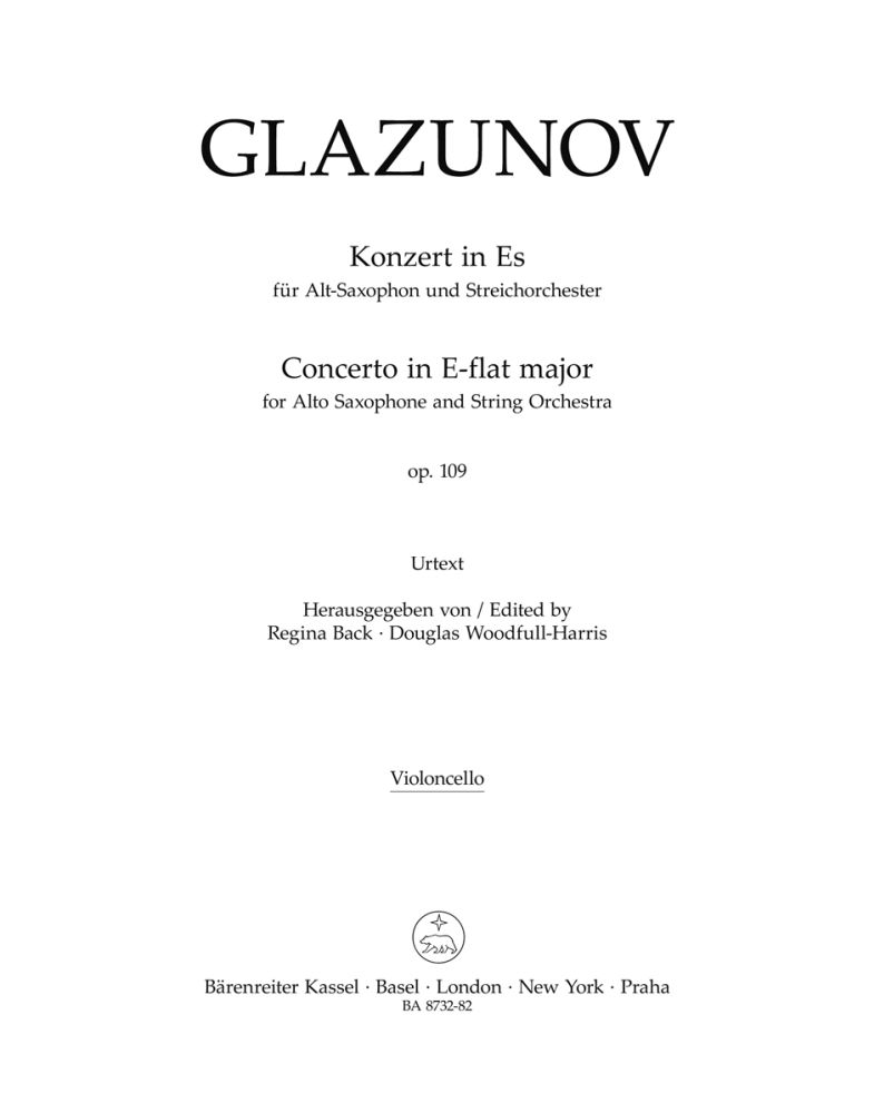 Alexander Glazunov: AltoSaxophone Concerto Op.109 (Cello): Alto Saxophone: Part