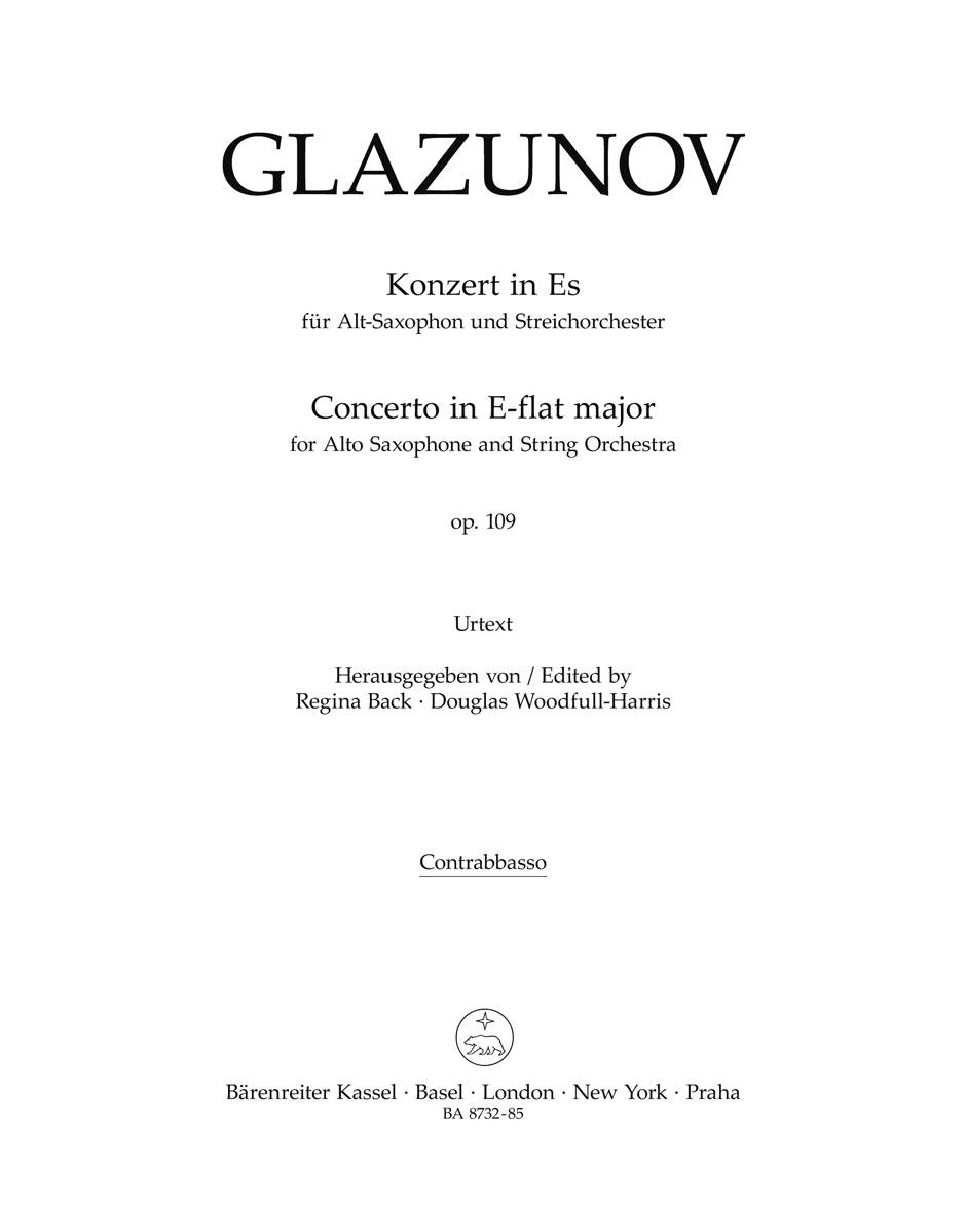 Alexander Glazunov: Alto Saxophone Concerto Op.109 (Double Bass): Alto