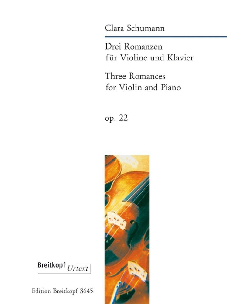Clara Schumann: Drei Romanzen op. 22: Violin: Instrumental Work