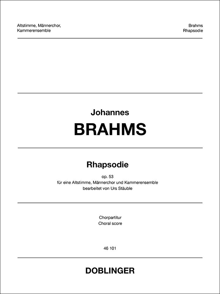 Johannes Brahms: Rhapsodie: Upper Voices and Accomp.: Choral Score
