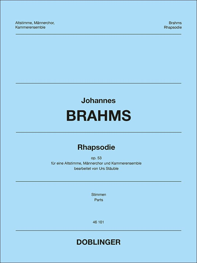 Johannes Brahms: Rhapsodie: Upper Voices and Accomp.: Parts