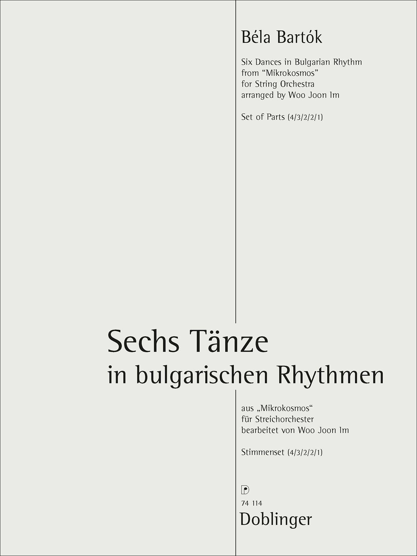 Béla Bartók: Sechs Tänze: String Orchestra: Parts