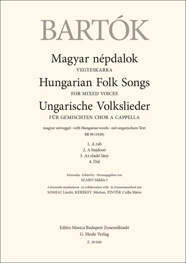 Béla Bartók: Hungarian Folk Songs for mixed voices: Mixed Choir A Cappella: