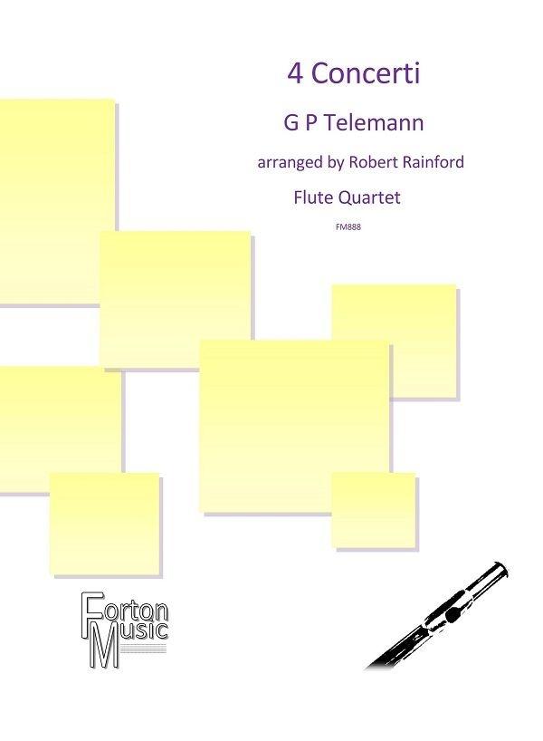 Georg Philipp Telemann: 4 Concerti: Flute Ensemble: Score and Parts