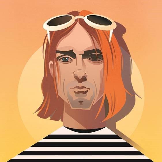 Pop Art Icons Kurt Cobain Card: Greetings Card