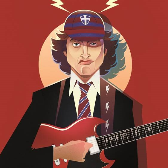 Pop Art Icons Angus Young Card: Greetings Card