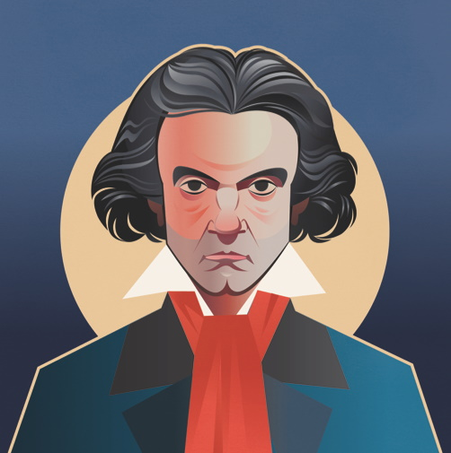 Pop Art Icons Beethoven Card: Greetings Cards