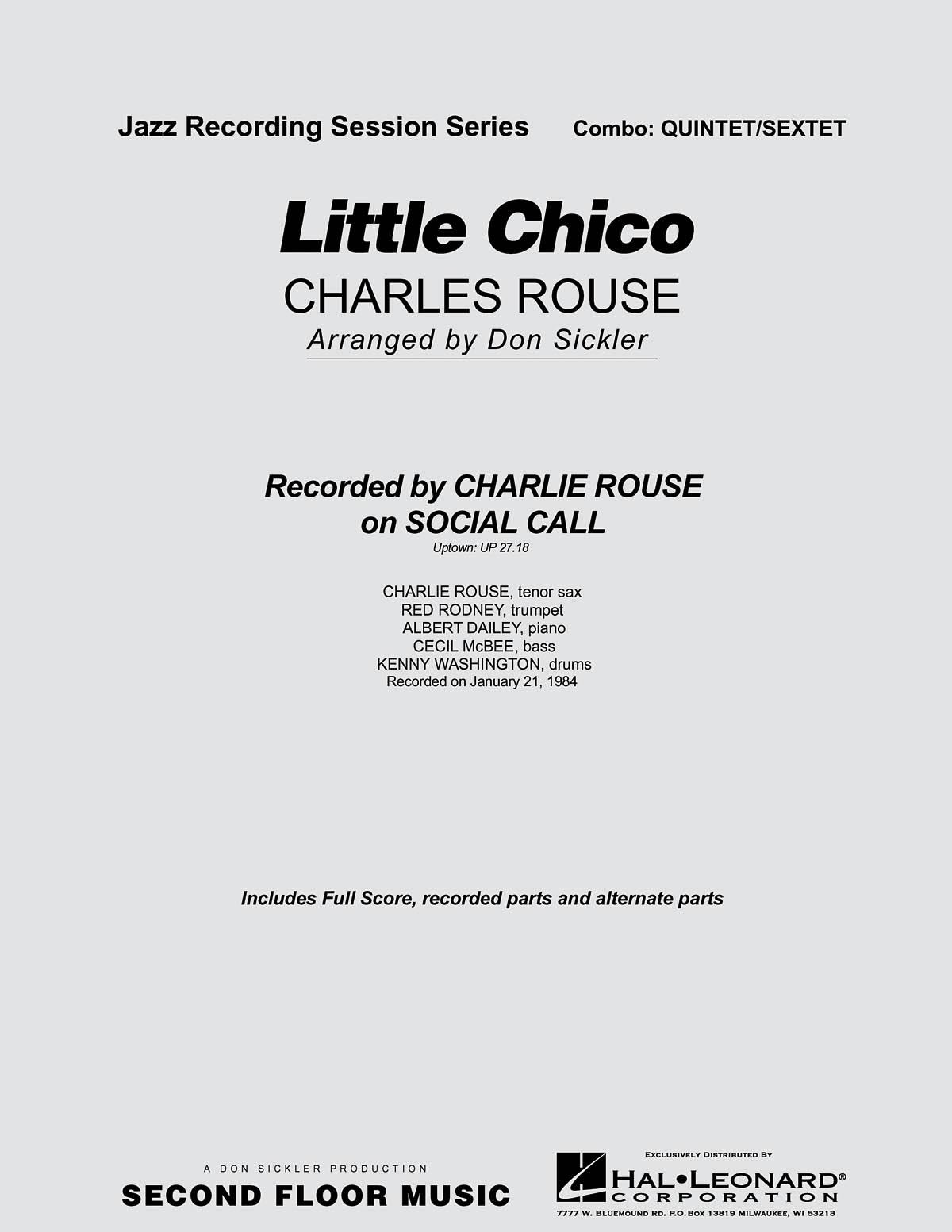 Charles Rouse: Little Chico: Jazz Ensemble: Score & Parts