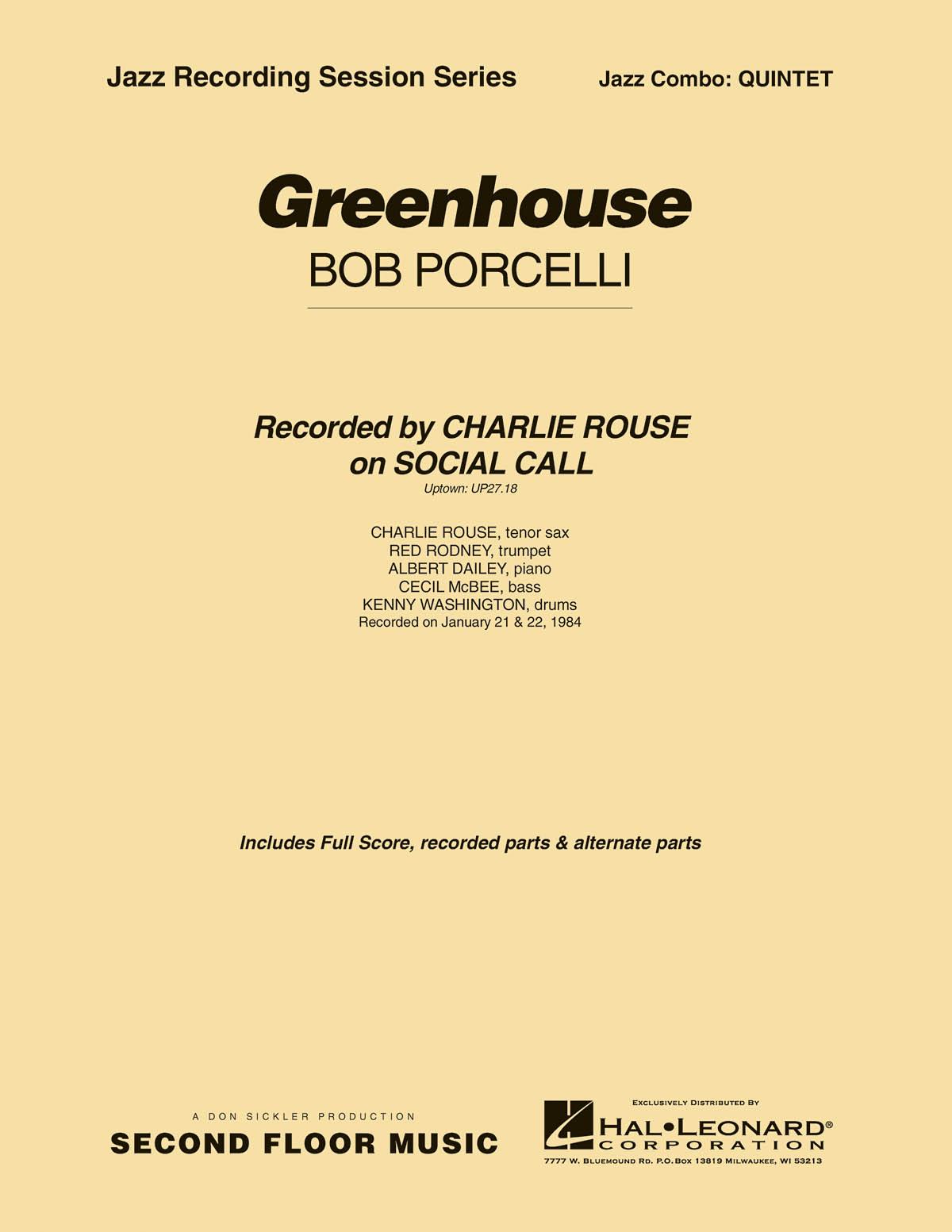 Bob Porcelli: Greenhouse: Jazz Ensemble: Score & Parts