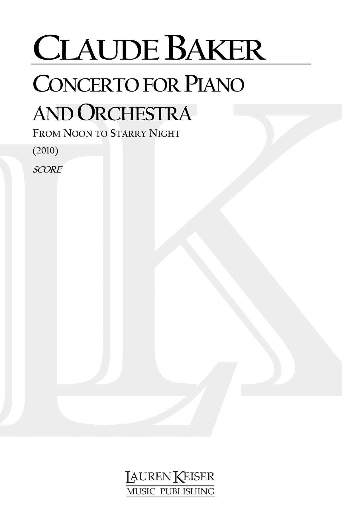 Claude Baker: Concerto for Piano a. Orchestra:: Orchestra: Part