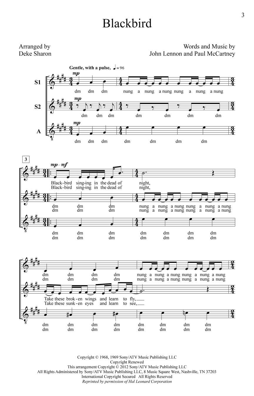 Blackbird: Upper Voices a Cappella: Vocal Score
