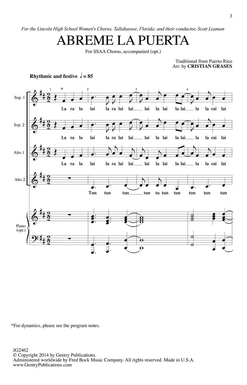 Abreme La Puerta: Upper Voices a Cappella: Vocal Score