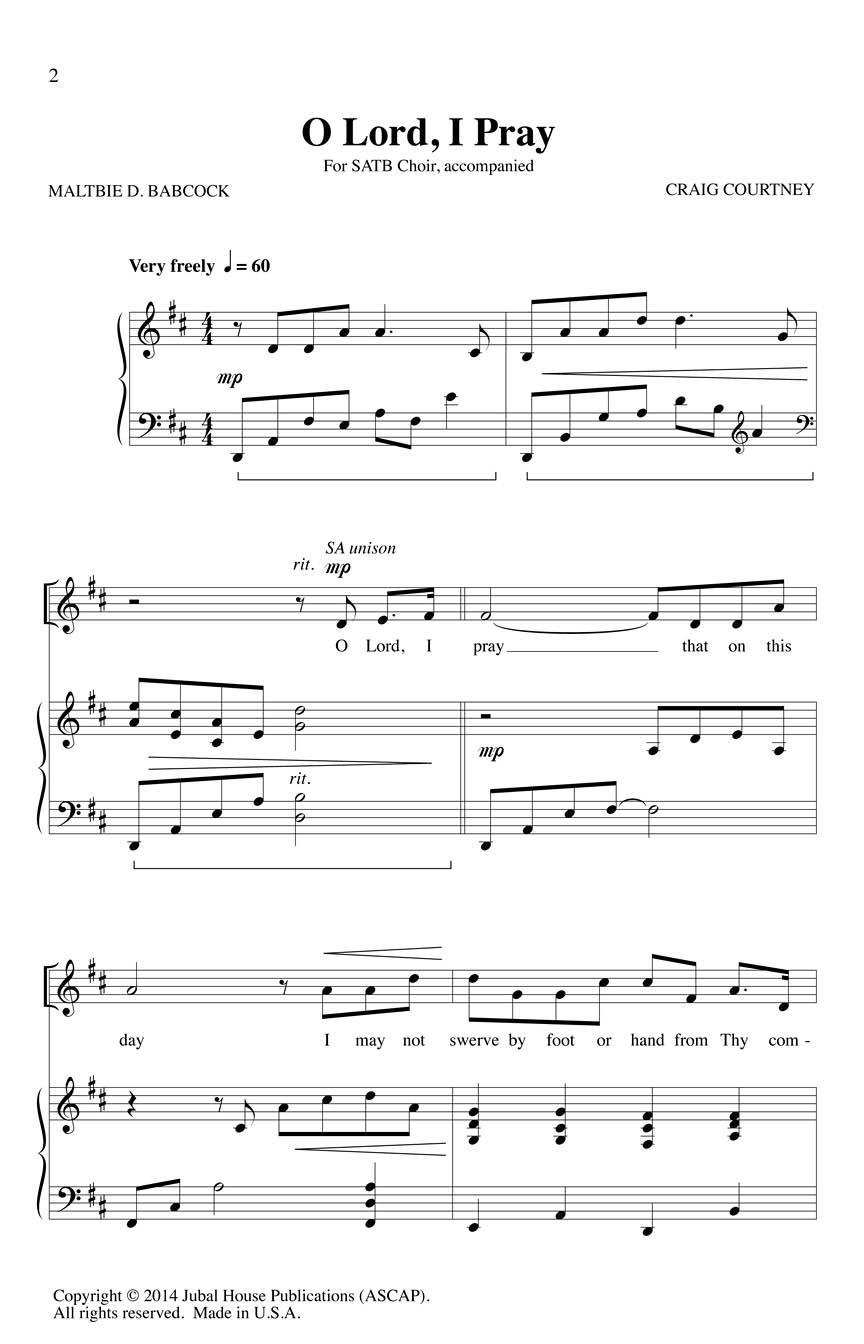 Craig Courtney Maltbie D. Babcock: O Lord I Pray: Mixed Choir a Cappella: Vocal