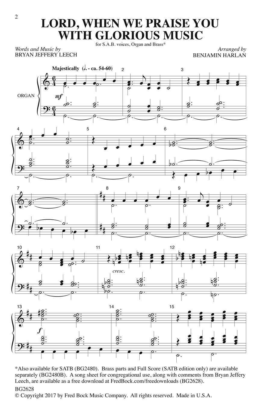 Bryan Jeffery Leech Benjamin Harlan: Lord When We Praise You with Glorious