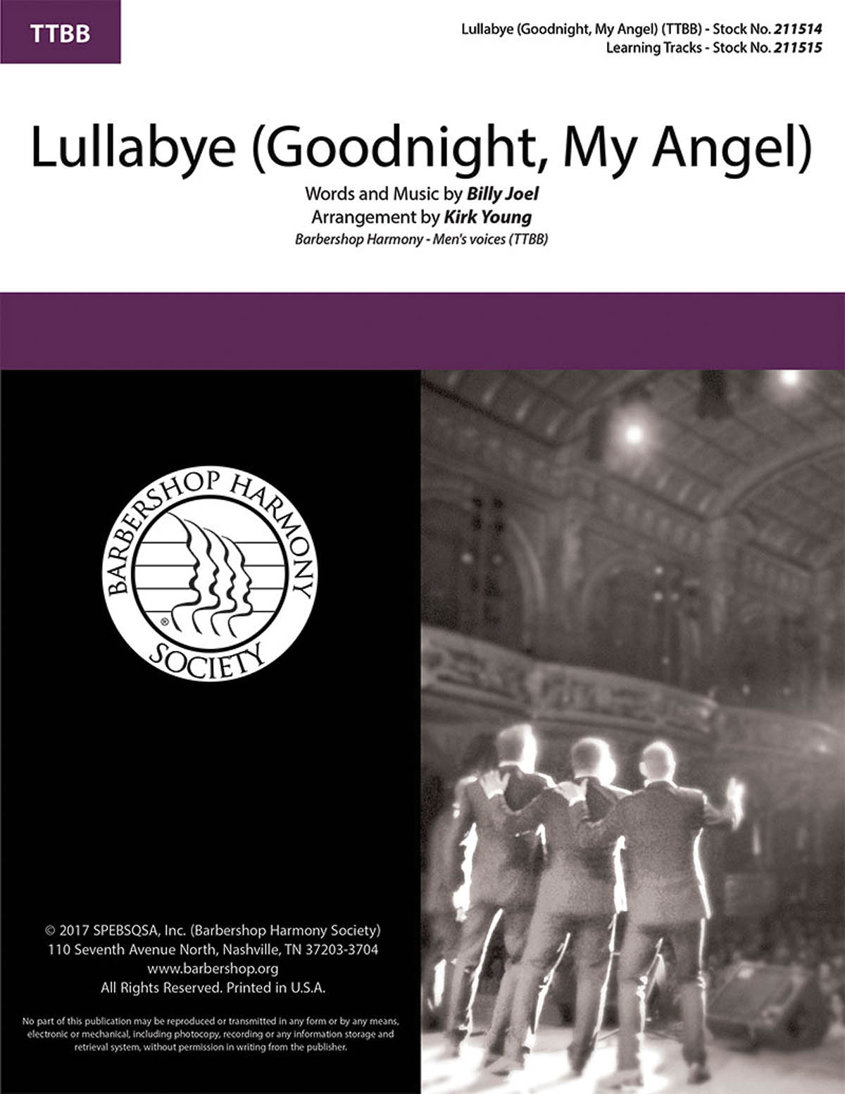 Billy Joel: Lullabye (Goodnight My Angel): Lower Voices a Cappella: Vocal Score