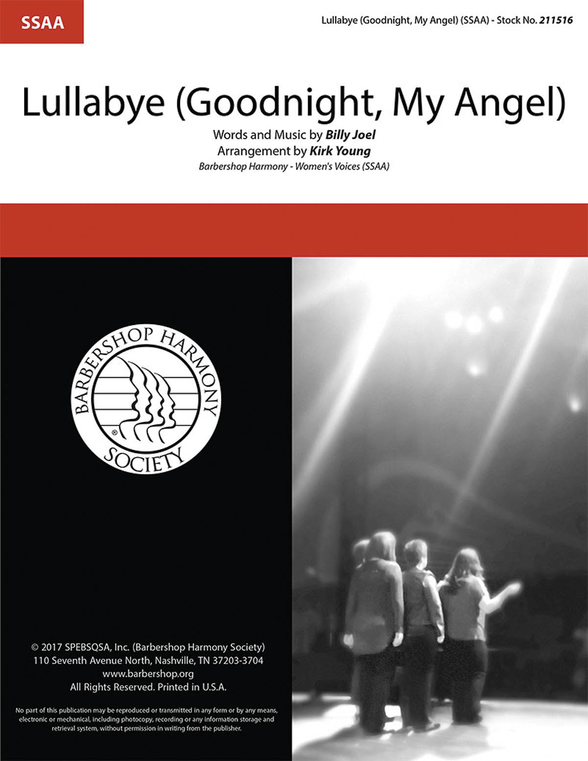 Billy Joel: Lullabye (Goodnight My Angel): Upper Voices a Cappella: Vocal Score