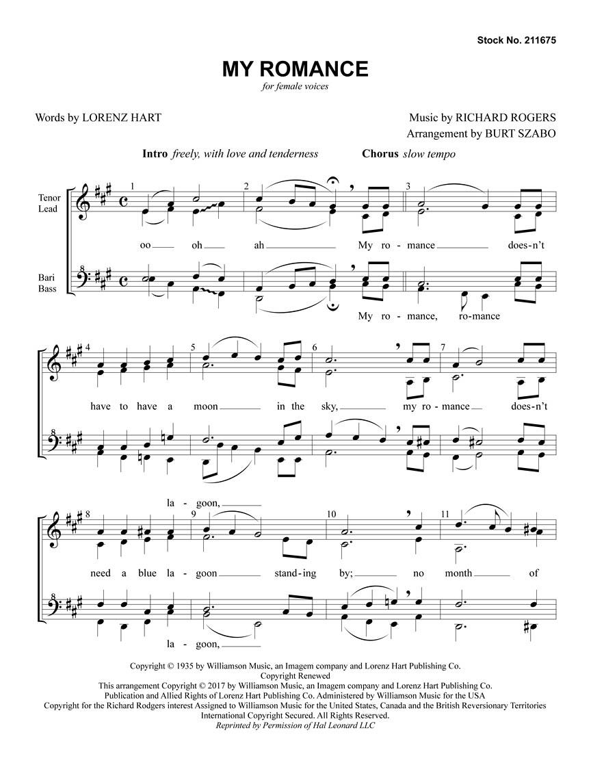Richard Rodgers: My Romance: Upper Voices a Cappella: Vocal Score