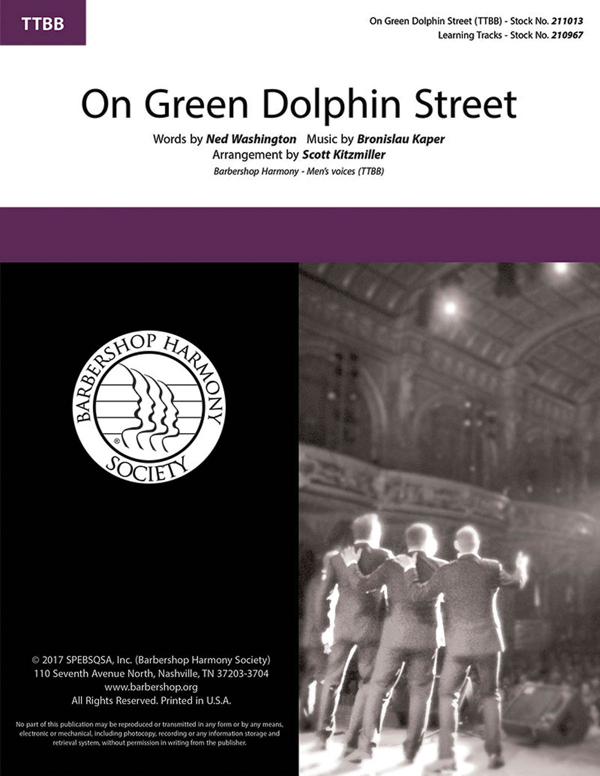 Bronislaw Kaper: On Green Dolphin Street: Lower Voices a Cappella: Vocal Score
