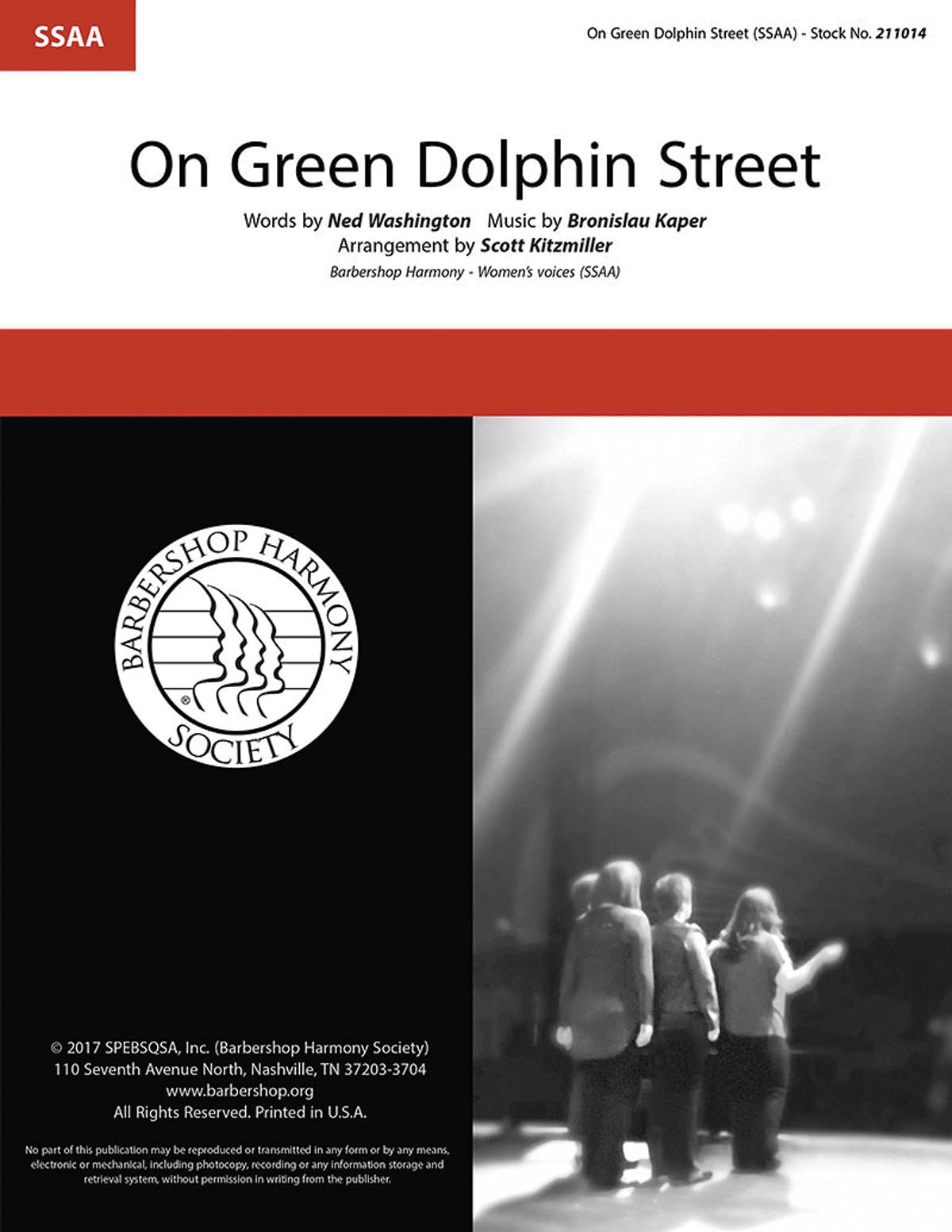 Bronislaw Kaper: On Green Dolphin Street: Upper Voices a Cappella: Vocal Score