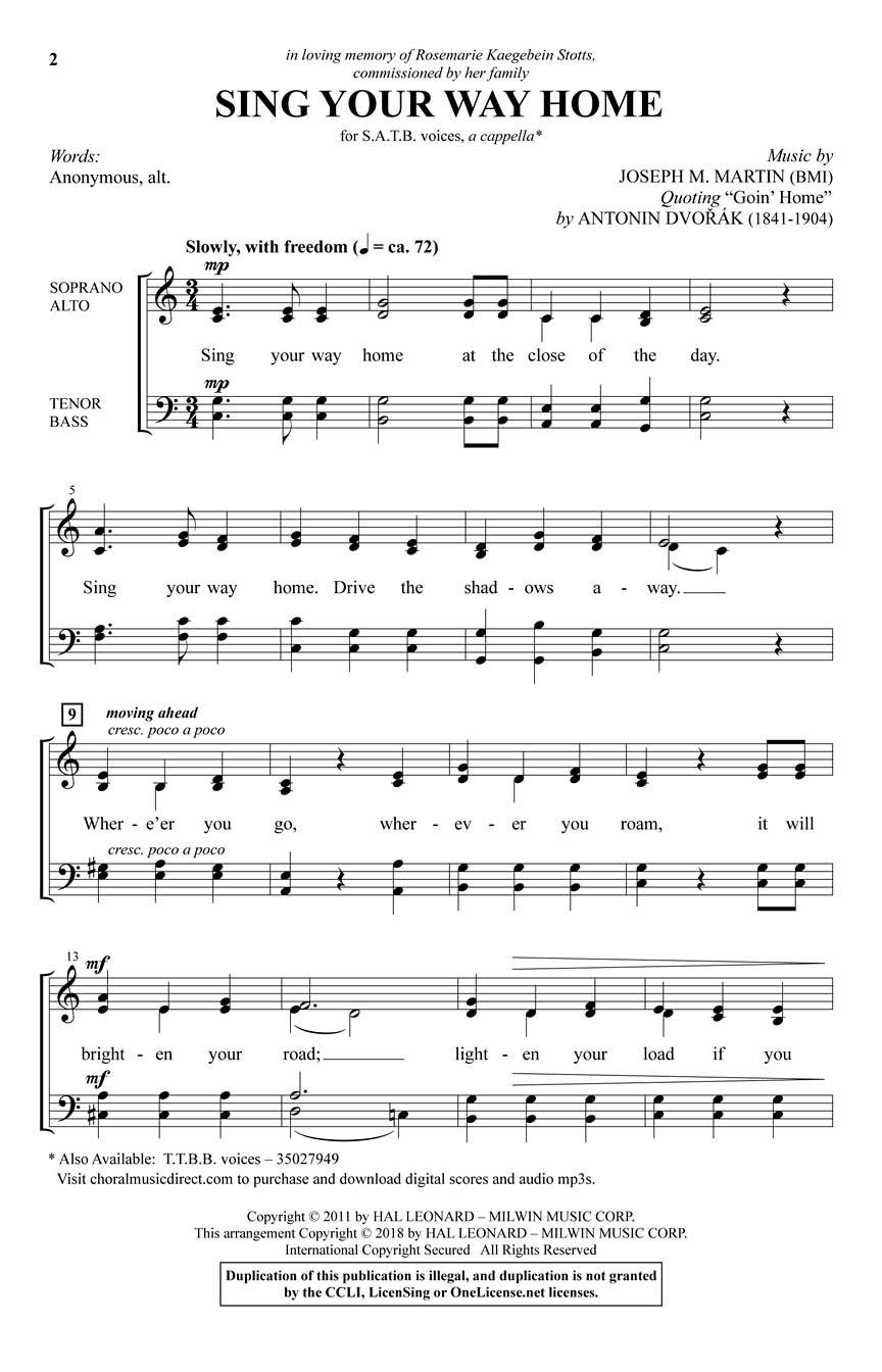 Joseph M. Martin: Sing Your Way Home: Mixed Choir a Cappella: Vocal Score