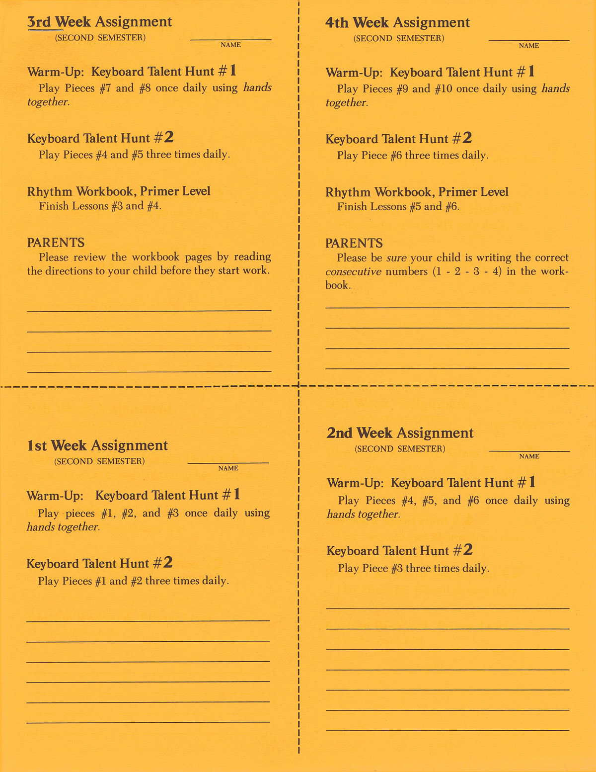 2nd Semester Class Lesson Sheets: Piano: Stationery