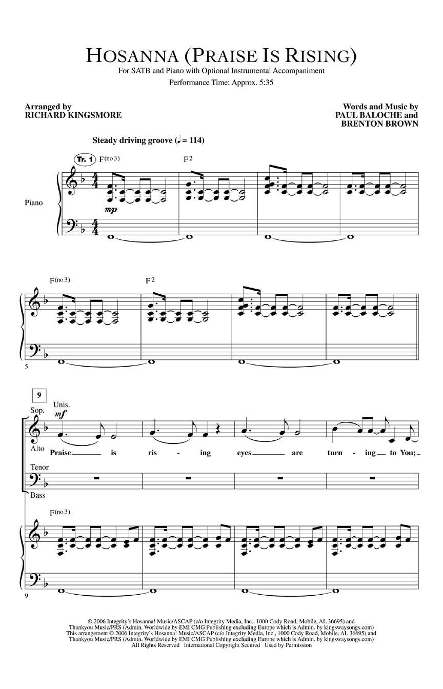 Brenton Brown Paul Baloche: Hosanna (Praise Is Rising): SATB: Vocal Score