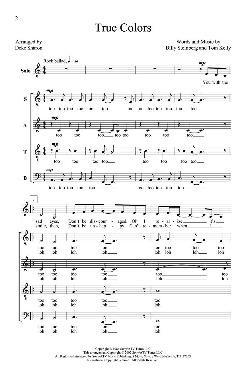 Bill Steinberg Tom Kelly: True Colors: SATB: Vocal Score