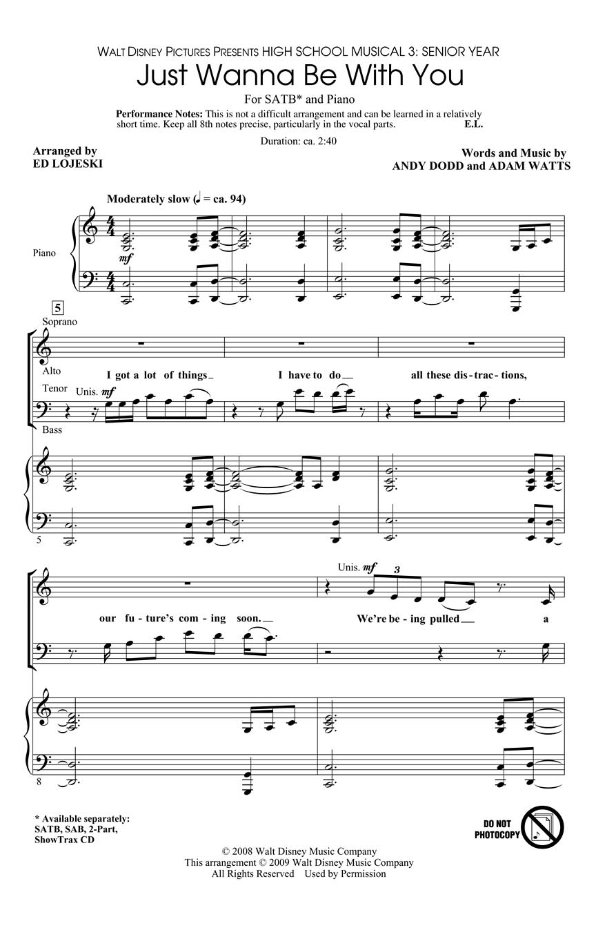 Adam Watts Andy Dodd: Just Wanna Be with You: SATB: Vocal Score