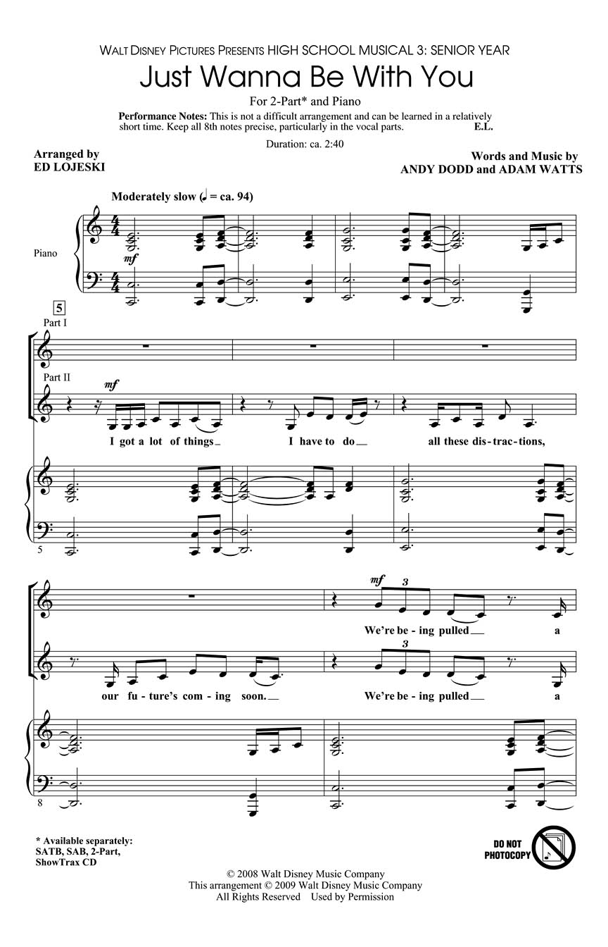 Adam Watts Andy Dodd: Just Wanna Be with You: 2-Part Choir: Vocal Score