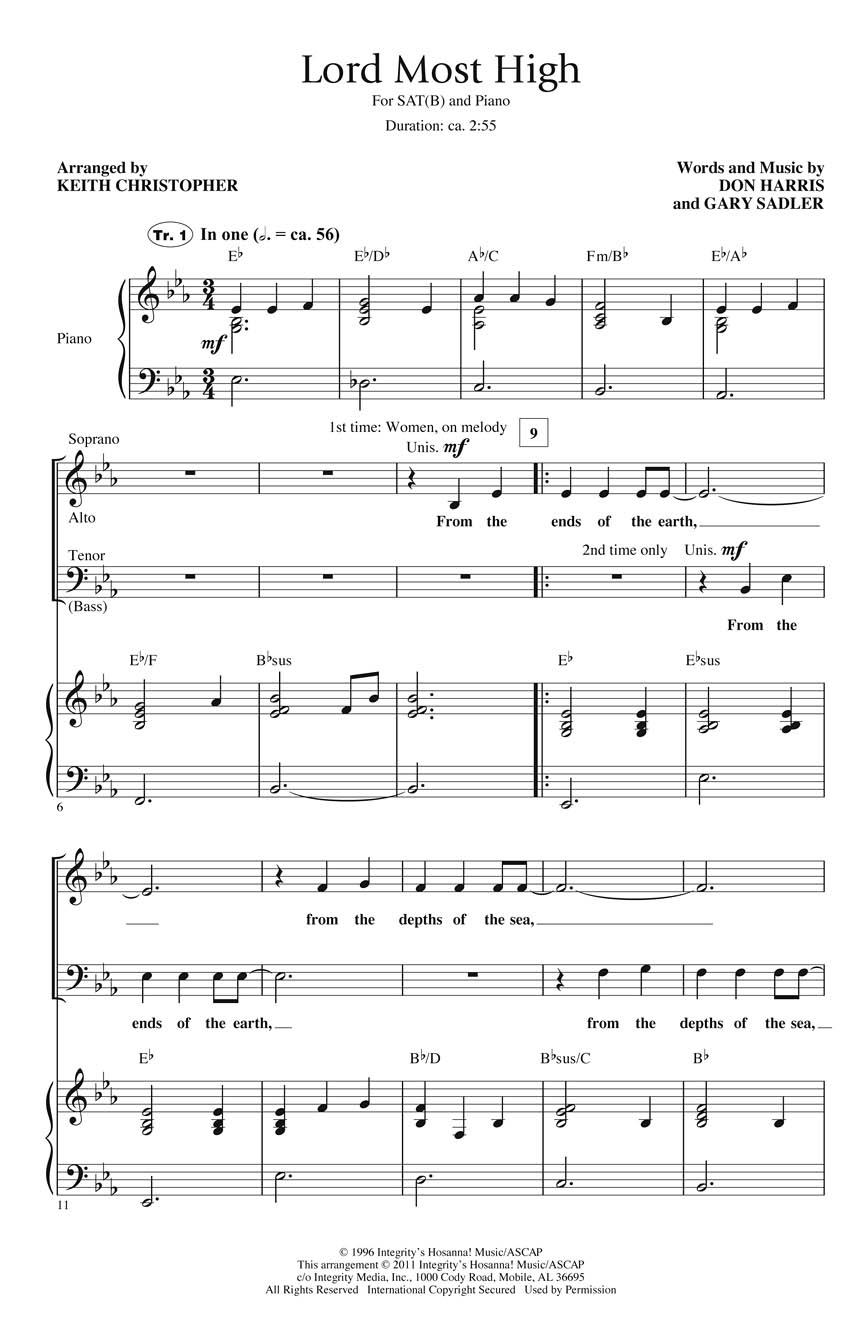 Don Harris Gary Sadler: Lord Most High: SATB: Vocal Score