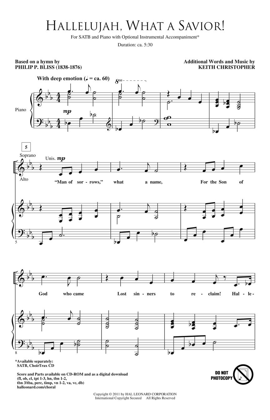 Keith Christopher Philip P. Bliss: Hallelujah What a Savior !: SATB: Vocal