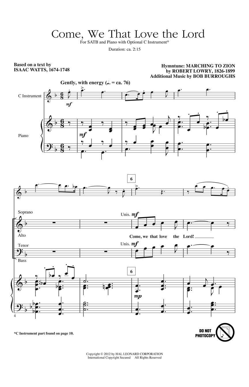 Bob Burroughs Robert Lowry: Come We That Love the Lord: SATB: Vocal Score