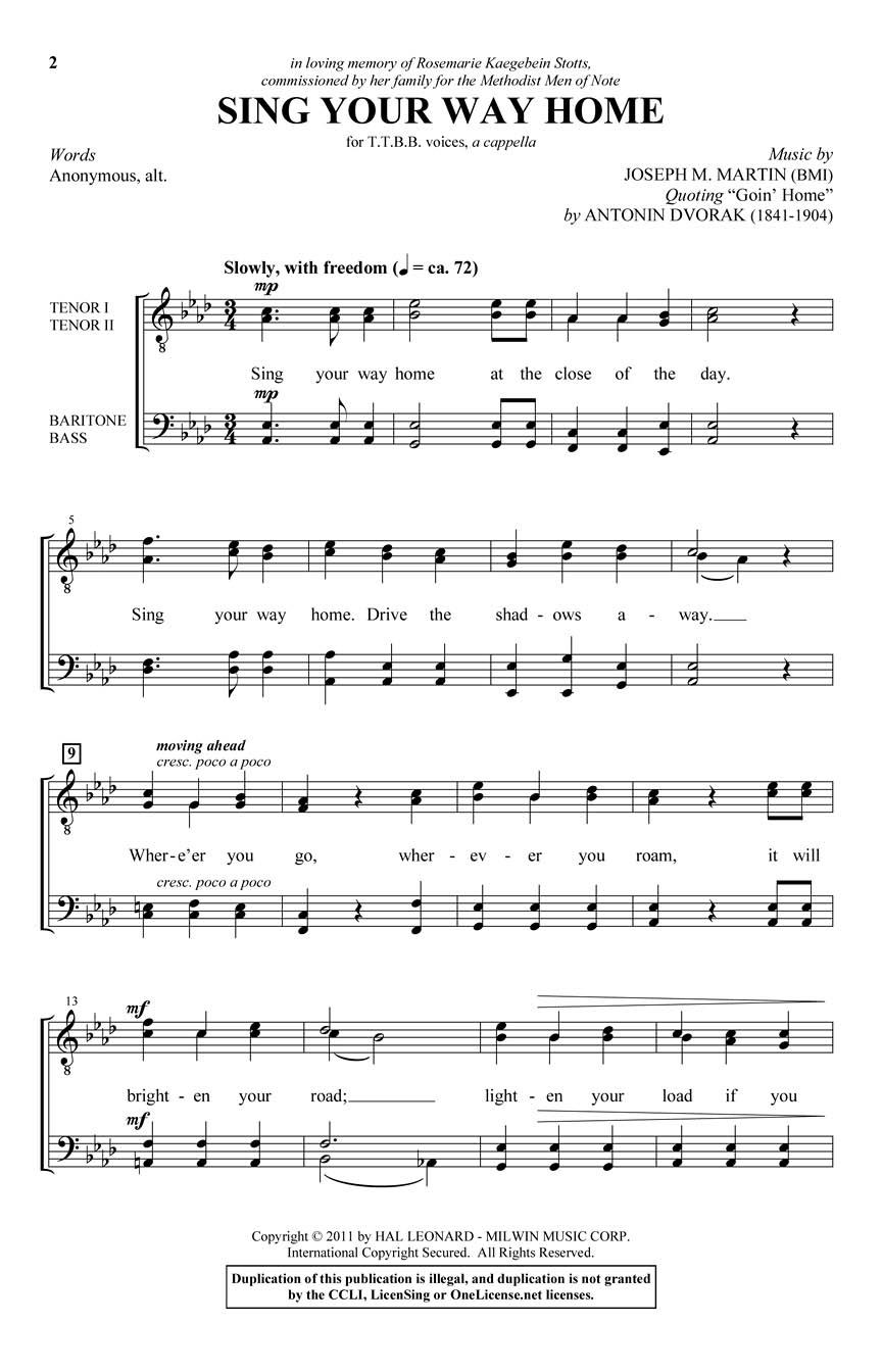 Joseph M. Martin: Sing Your Way Home: TTBB: Vocal Score