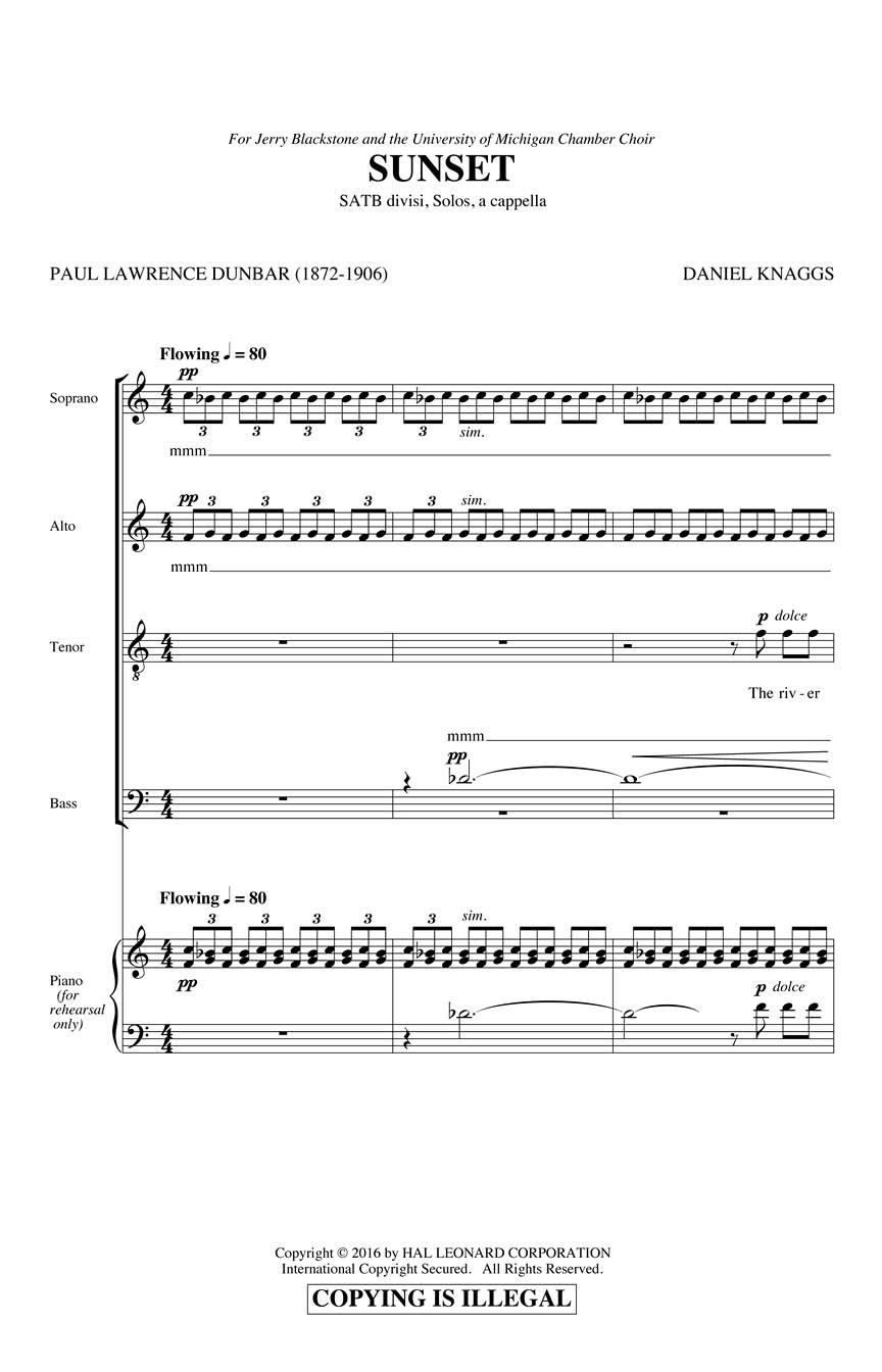Daniel J. Knaggs: Sunset: Double Choir: Vocal Score