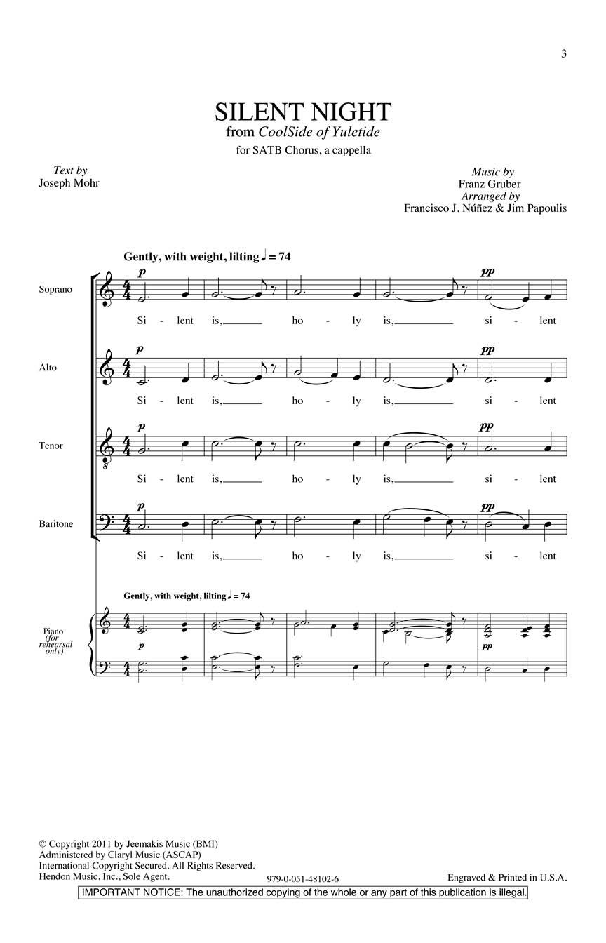 Silent Night: SATB: Vocal Score