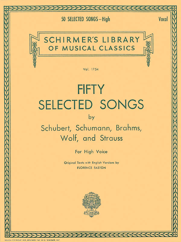 50 Selected Songs: High Voice: Mixed Songbook