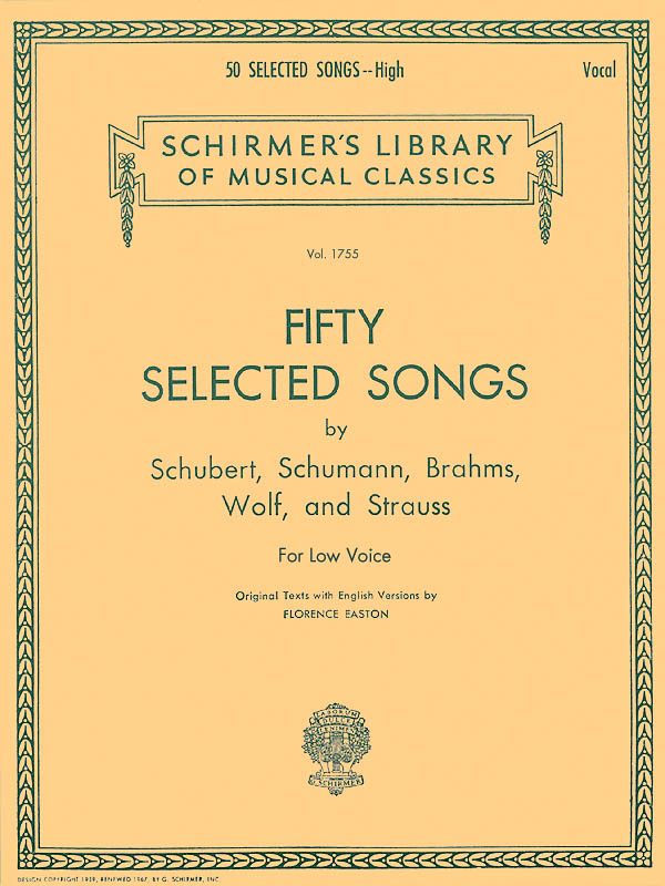 50 Selected Songs: Low Voice: Mixed Songbook