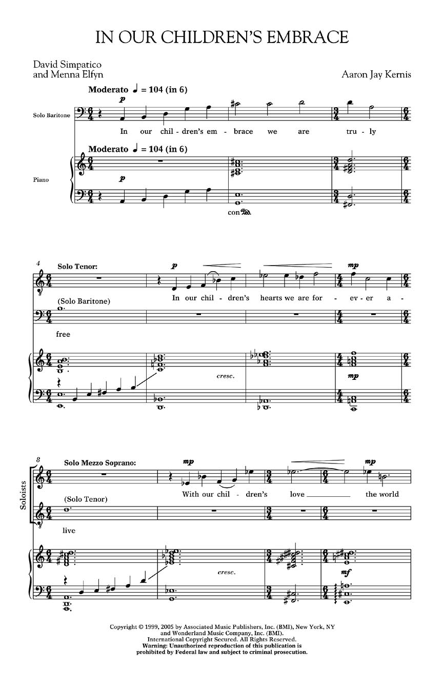 Aaron Jay Kernis: In Our Children's Embrace (Garden Of Light No.5): SATB: Vocal