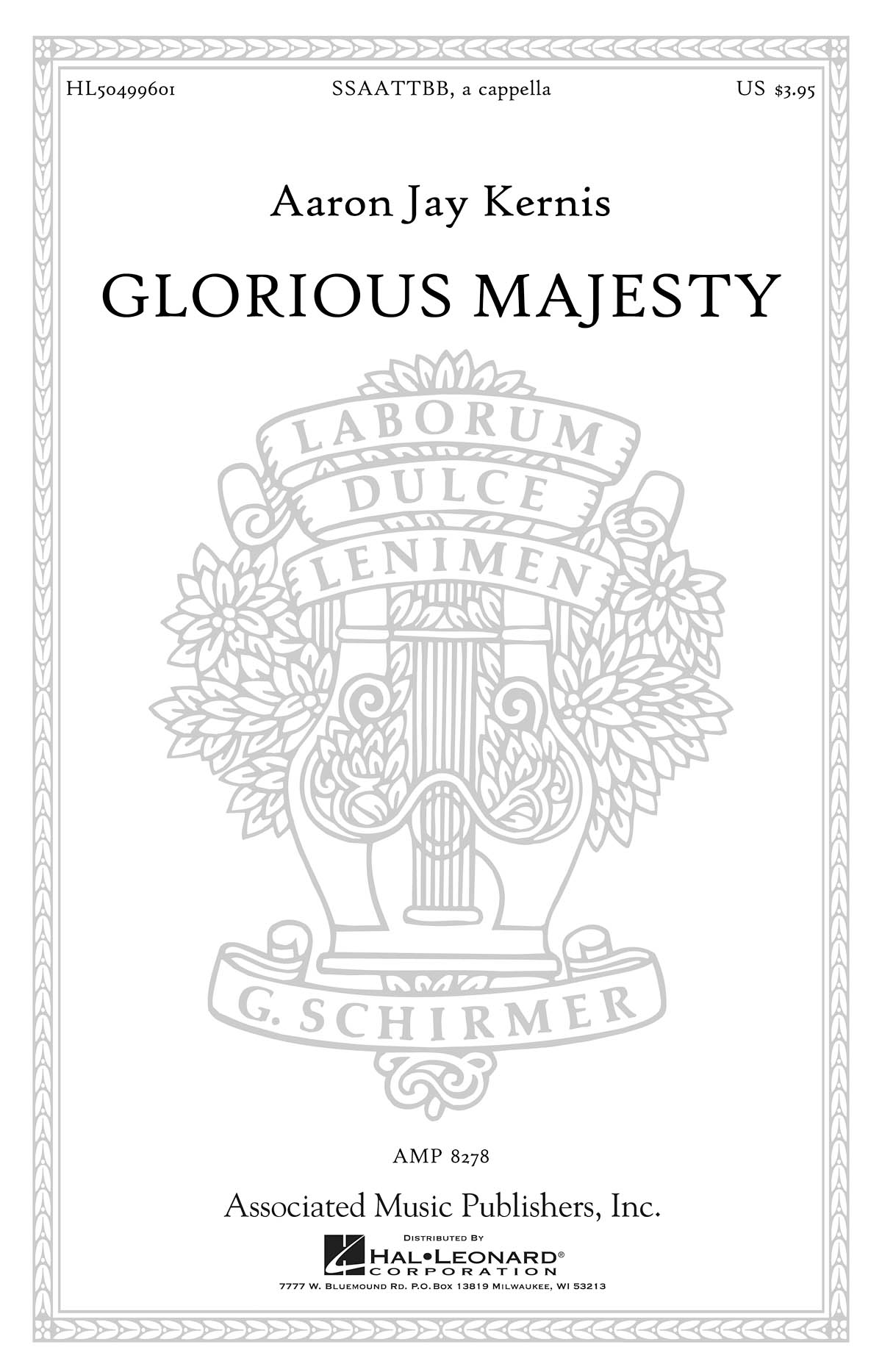 Aaron Jay Kernis: Glorious Majesty: Double Choir: Vocal Score