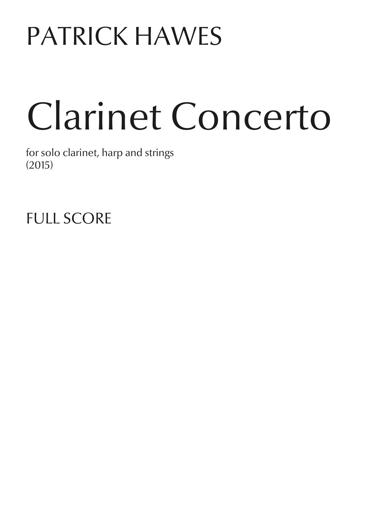 Patrick Hawes: Clarinet Concerto: Chamber Ensemble: Score