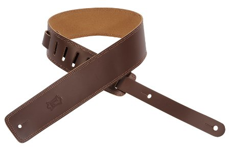 2.5 Inch Leather Double Stitch Guitar Strap Brown: Strap