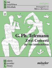Georg Philipp Telemann: Zwei Concerti: Recorder Ensemble: Score and Parts