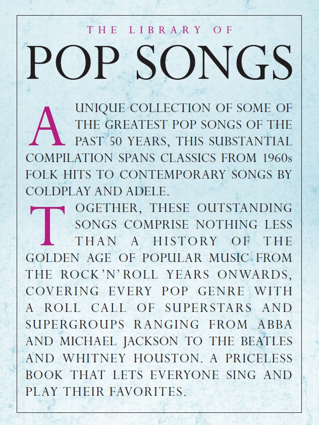 The Library Of Pop Songs: Piano Vocal Guitar: Mixed Songbook