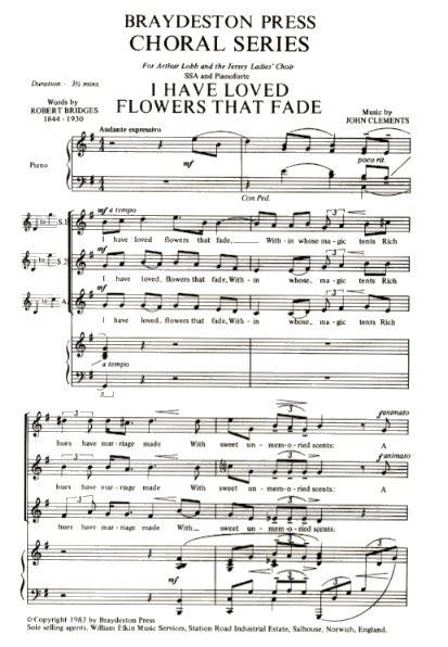 John Clements: I Have Loved Flowers That Fade: SSA: Instrumental Work