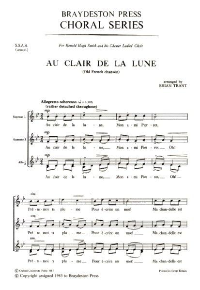 Au Clair De La Lune: SSAA: Vocal Score