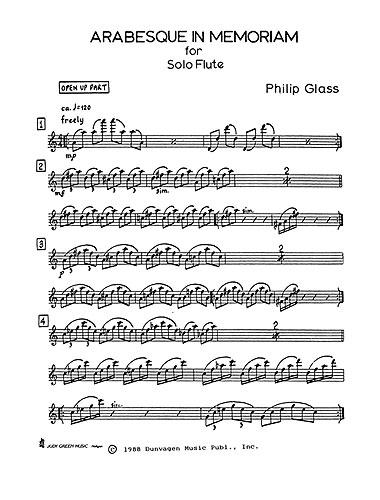 Philip Glass: Arabesque In Memoriam (Solo Flute): Flute: Instrumental Work