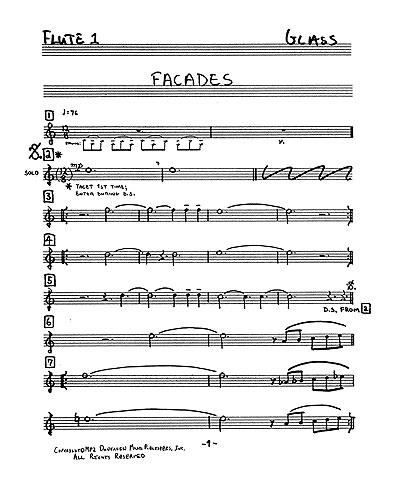 Philip Glass: Facades: Chamber Ensemble: Parts