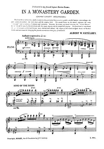 Albert Ketèlbey: In A Monastery Garden: Piano: Instrumental Work